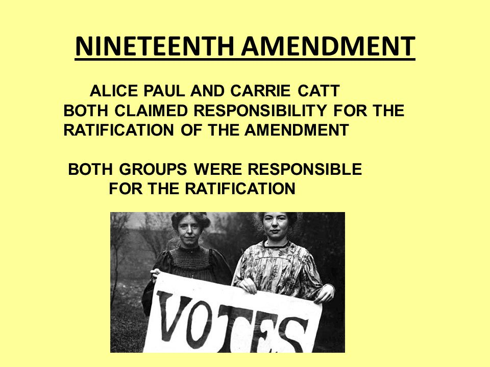 NINETEENTH AMENDMENT ALICE PAUL AND CARRIE CATT