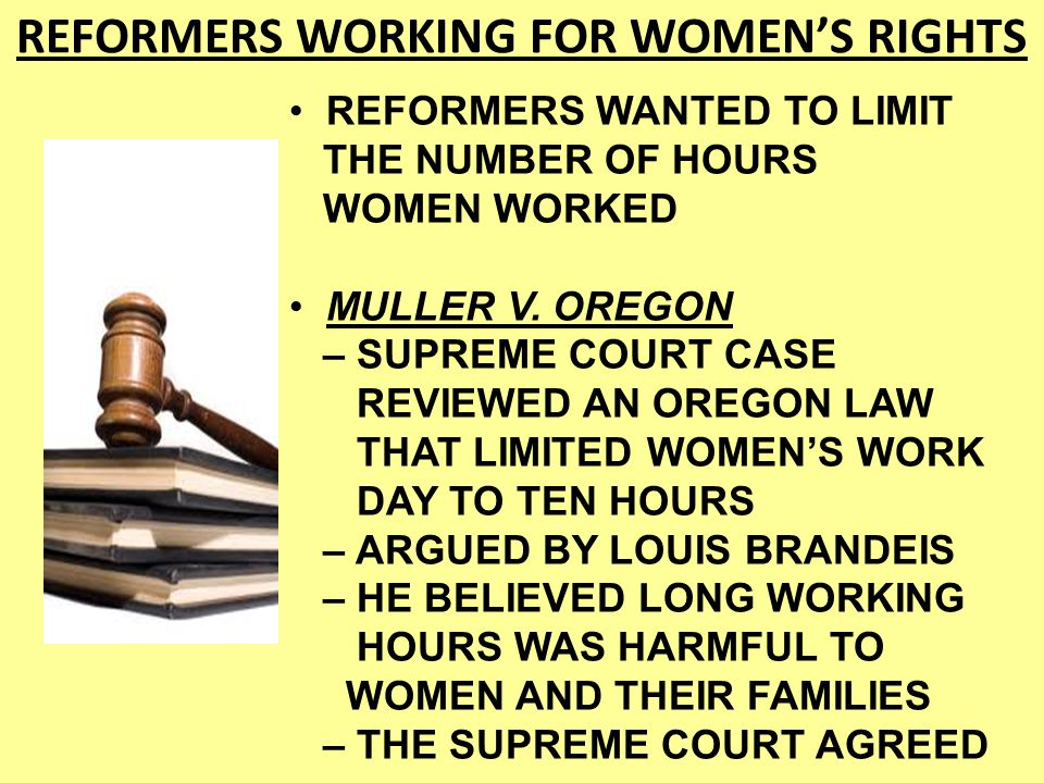 REFORMERS WORKING FOR WOMEN'S RIGHTS
