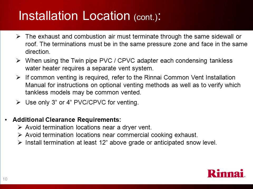 Installation Location (cont.):