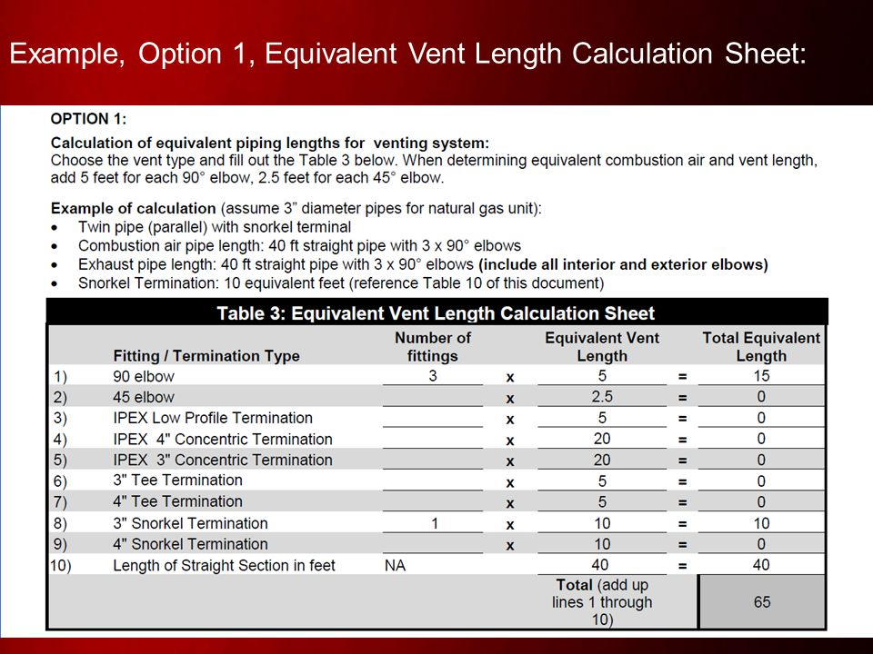 Example, Option 1, Equivalent Vent Length Calculation Sheet: