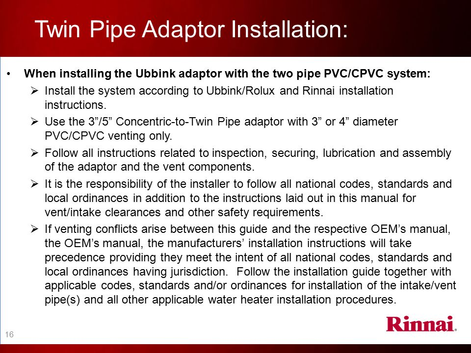 Twin Pipe Adaptor Installation: