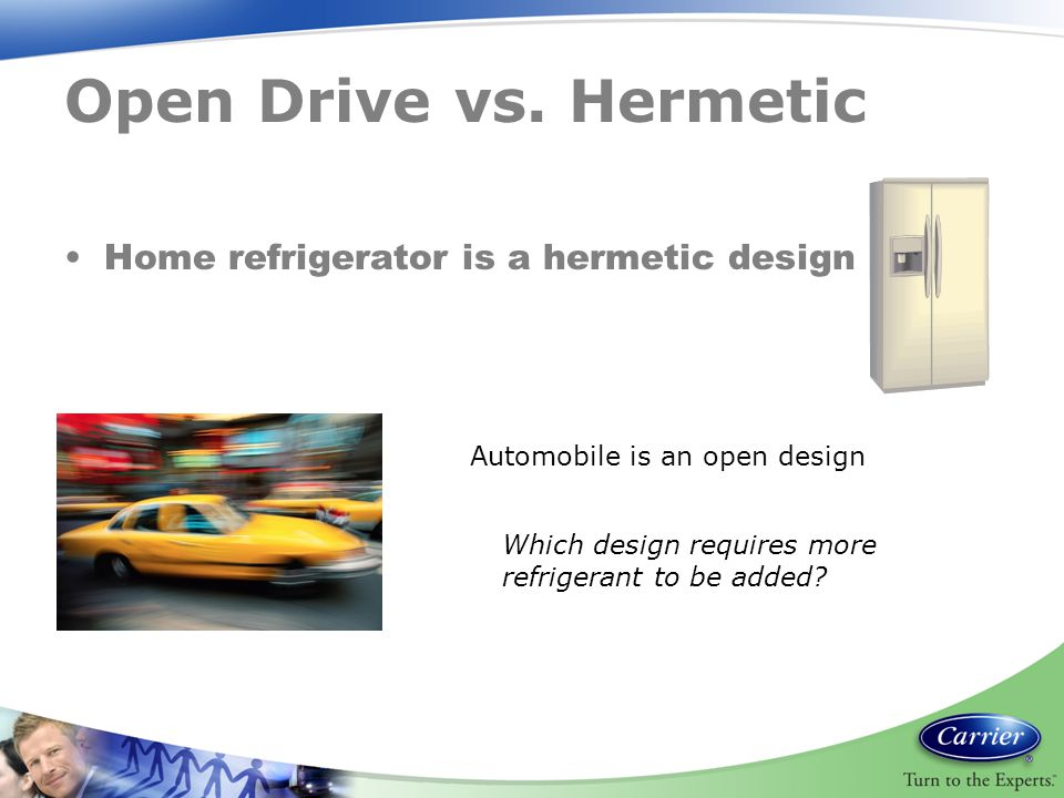 Open Drive vs. Hermetic Home refrigerator is a hermetic design