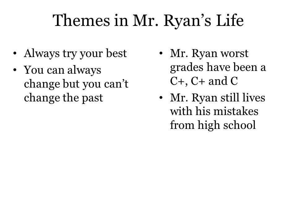 Themes in Mr. Ryan's Life