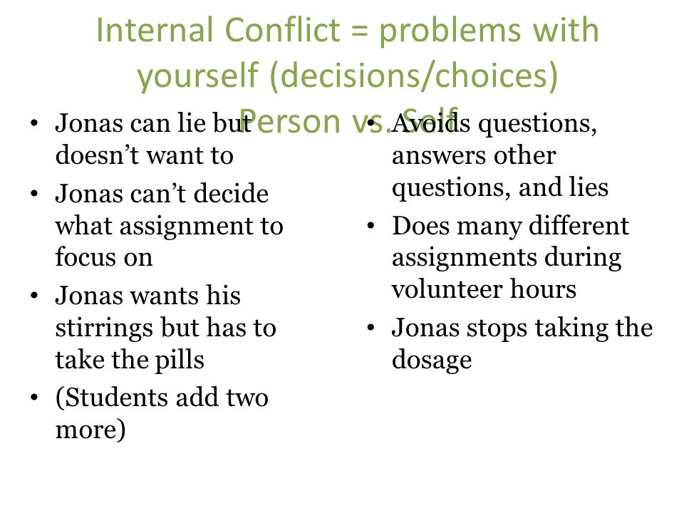 Internal Conflict = problems with yourself (decisions/choices) Person vs. Self