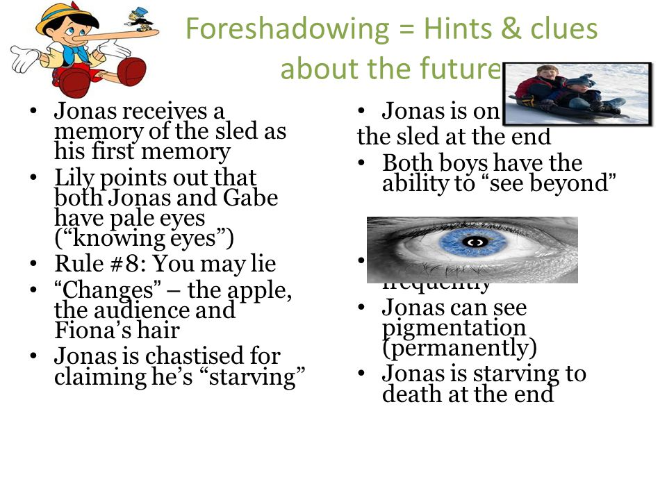 Foreshadowing = Hints & clues about the future