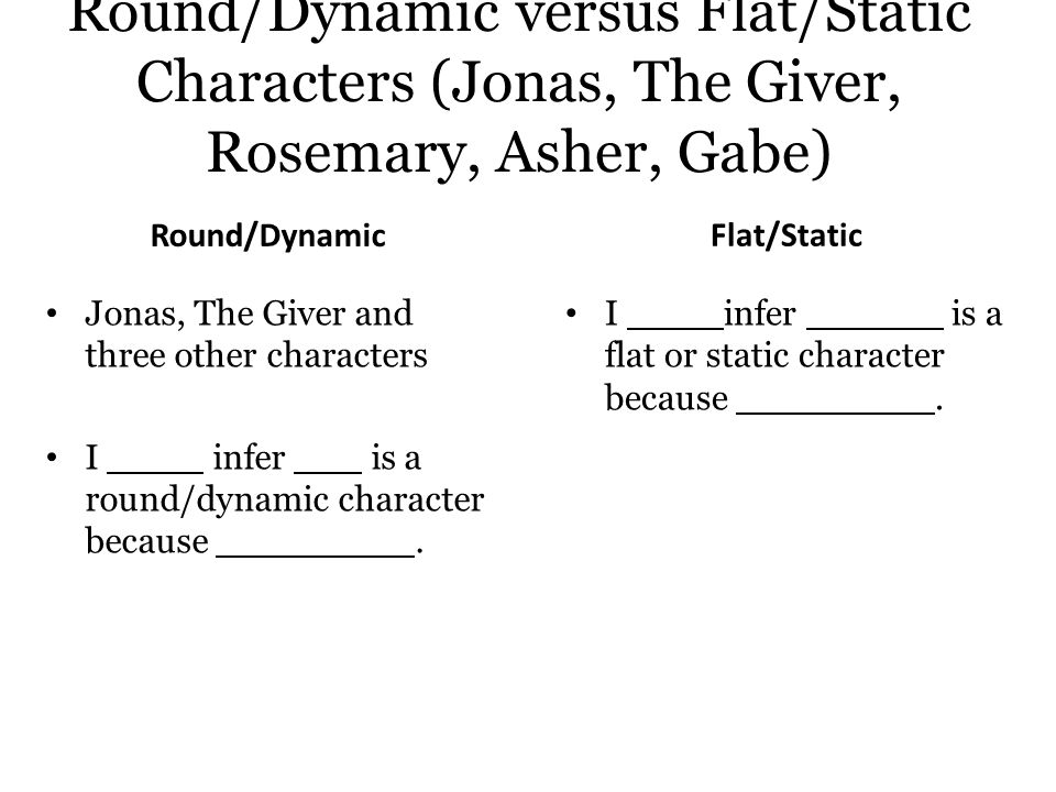 Round/Dynamic versus Flat/Static Characters (Jonas, The Giver, Rosemary, Asher, Gabe)