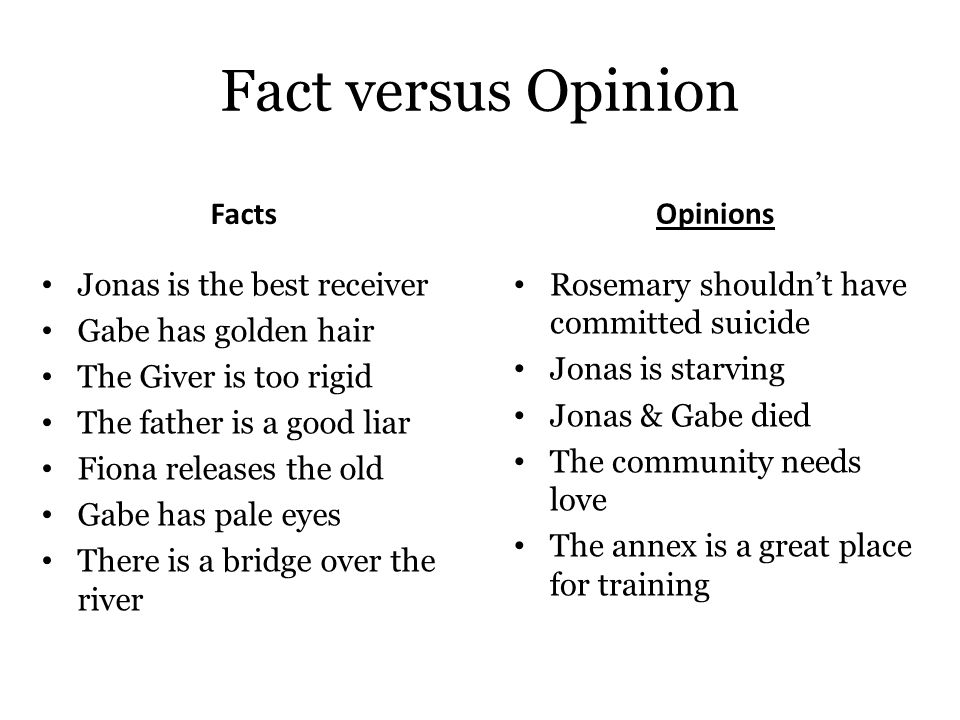 Fact versus Opinion Facts Opinions Jonas is the best receiver