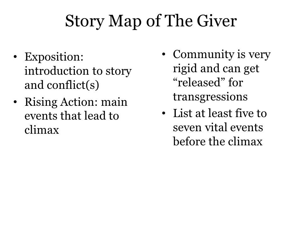 Story Map of The Giver Community is very rigid and can get released for transgressions.