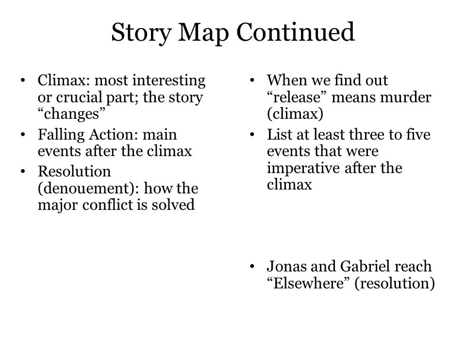 Story Map Continued Climax: most interesting or crucial part; the story changes Falling Action: main events after the climax.