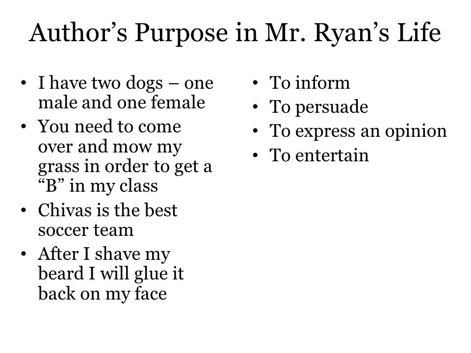 Author's Purpose in Mr. Ryan's Life