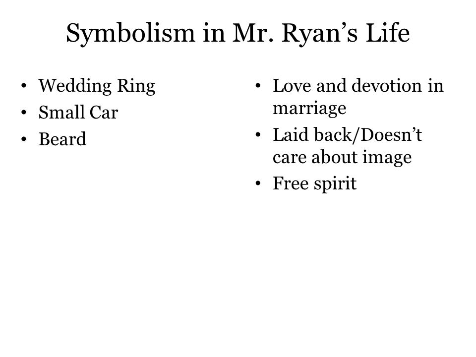 Symbolism in Mr. Ryan's Life