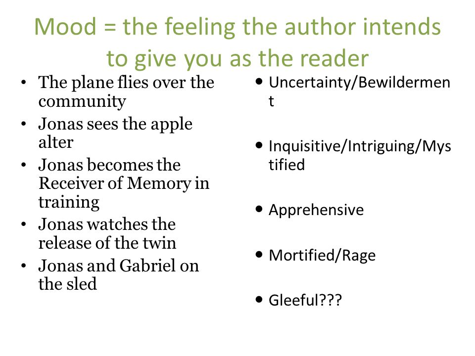 Mood = the feeling the author intends to give you as the reader