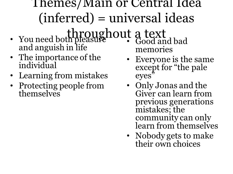 Themes/Main or Central Idea (inferred) = universal ideas throughout a text