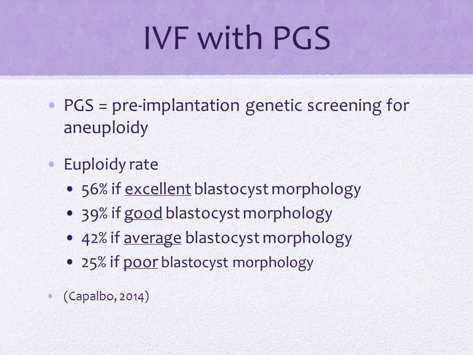 IVF with PGS PGS = pre-implantation genetic screening for aneuploidy