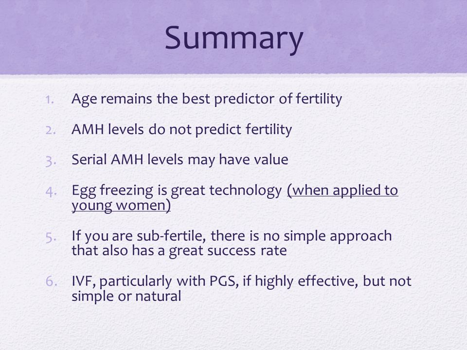 Summary Age remains the best predictor of fertility