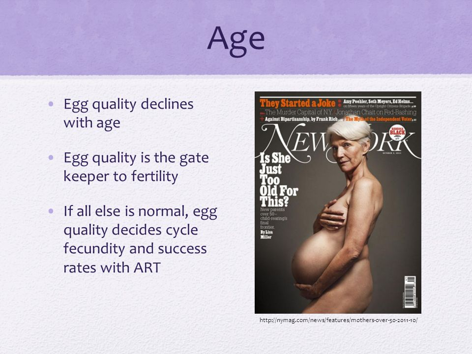 Age Egg quality declines with age