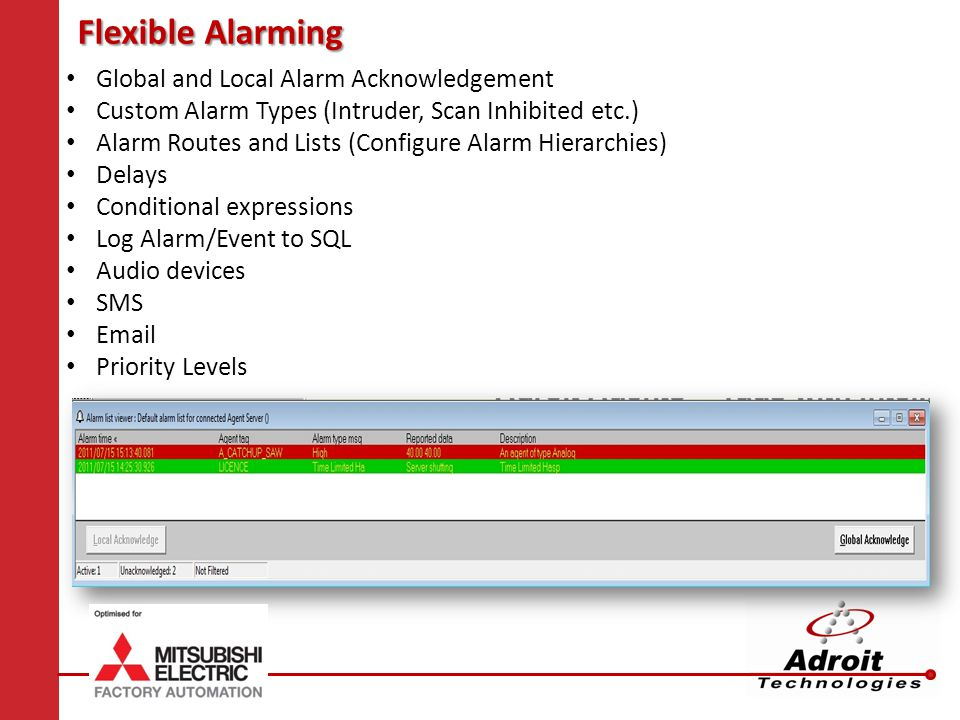 Flexible Alarming Global and Local Alarm Acknowledgement