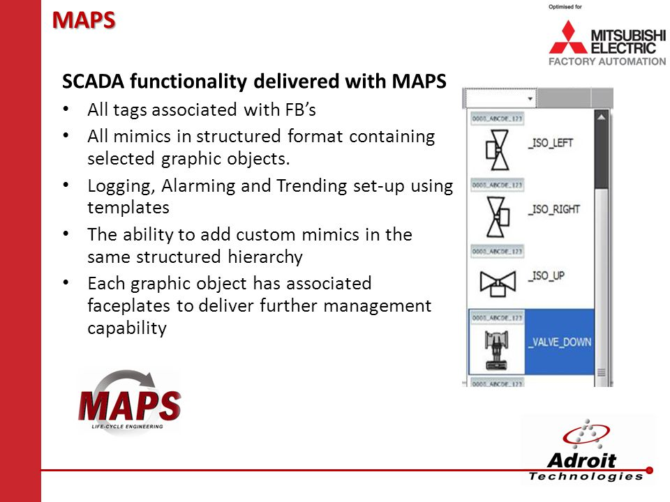 MAPS SCADA functionality delivered with MAPS