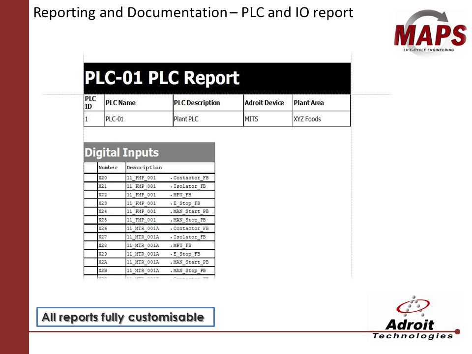 Reporting and Documentation – PLC and IO report