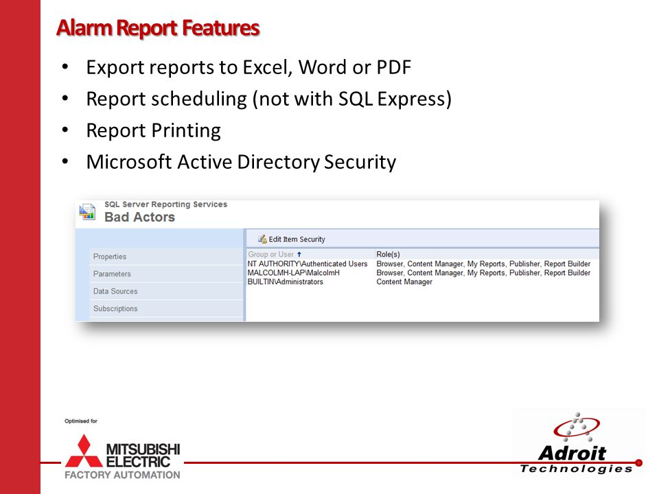 Alarm Report Features Export reports to Excel, Word or PDF