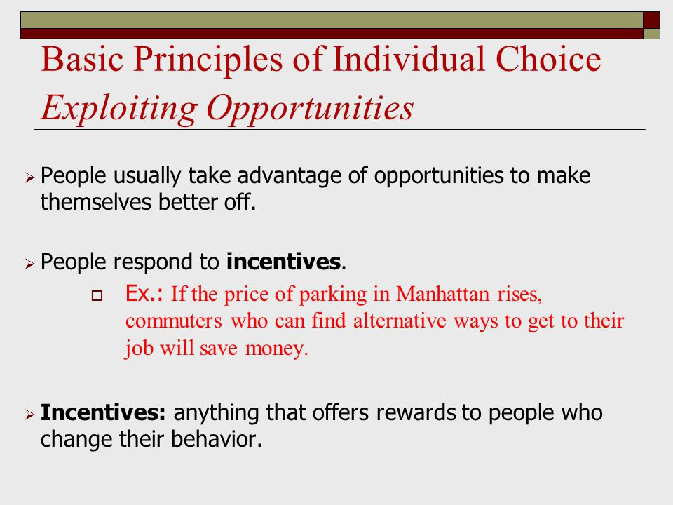 Basic Principles of Individual Choice Exploiting Opportunities