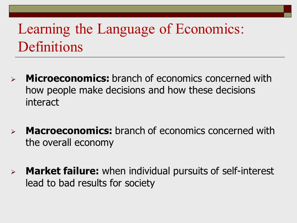 Learning the Language of Economics: Definitions