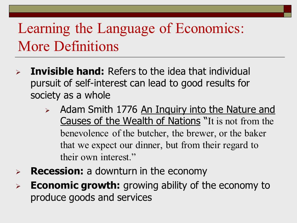 Learning the Language of Economics: More Definitions