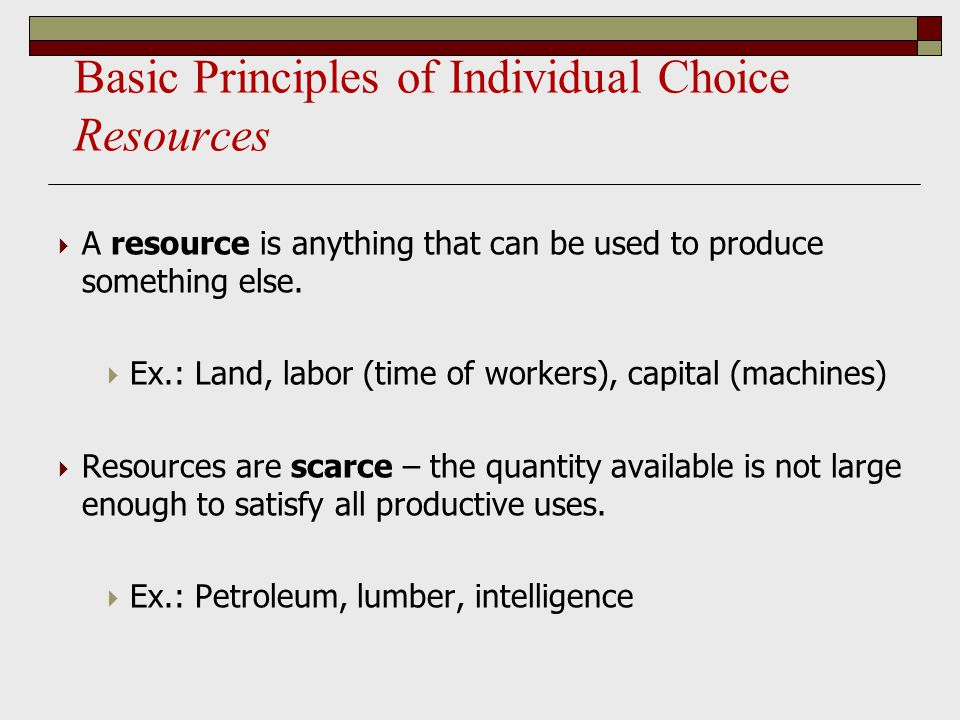 Basic Principles of Individual Choice Resources