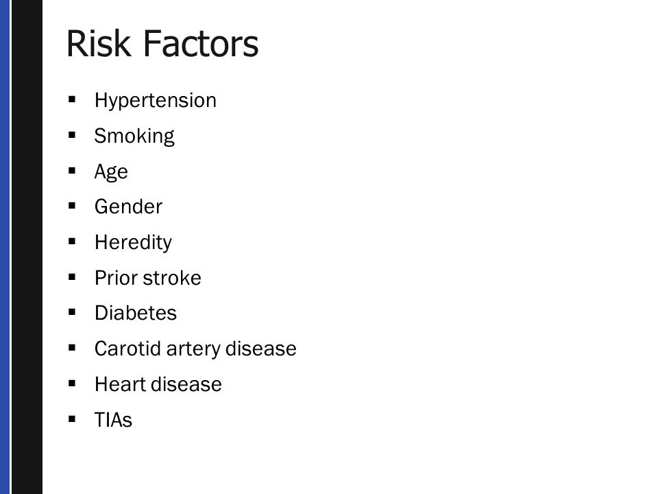 Risk Factors Hypertension Smoking Age Gender Heredity Prior stroke
