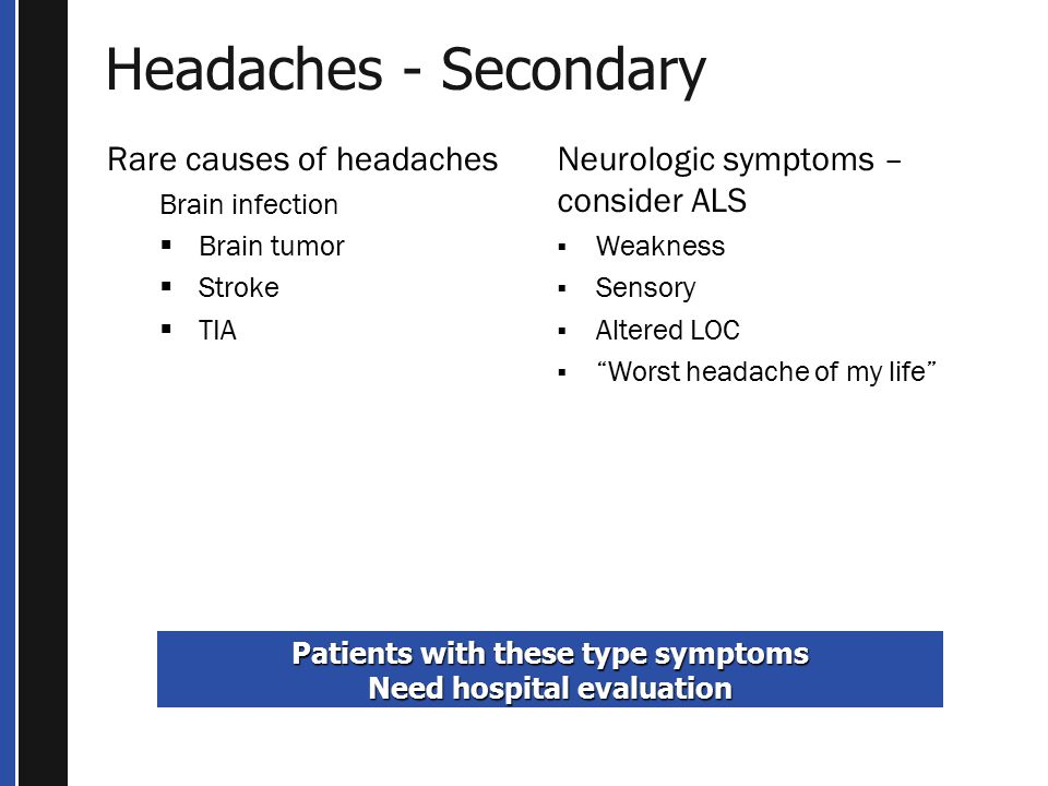 Patients with these type symptoms Need hospital evaluation