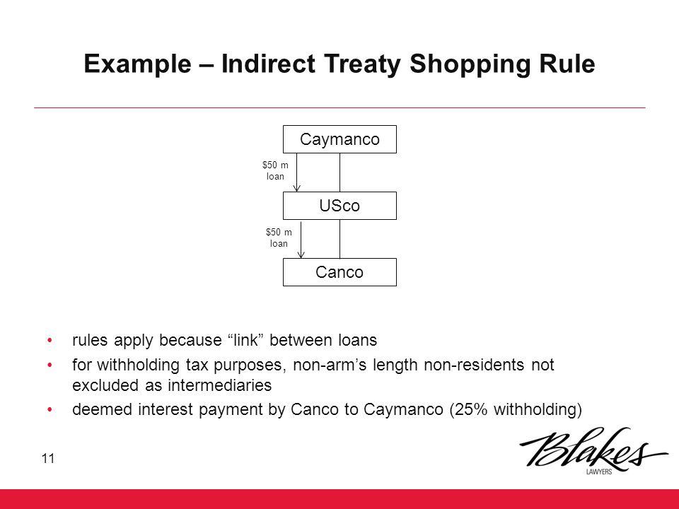 Example – Indirect Treaty Shopping Rule