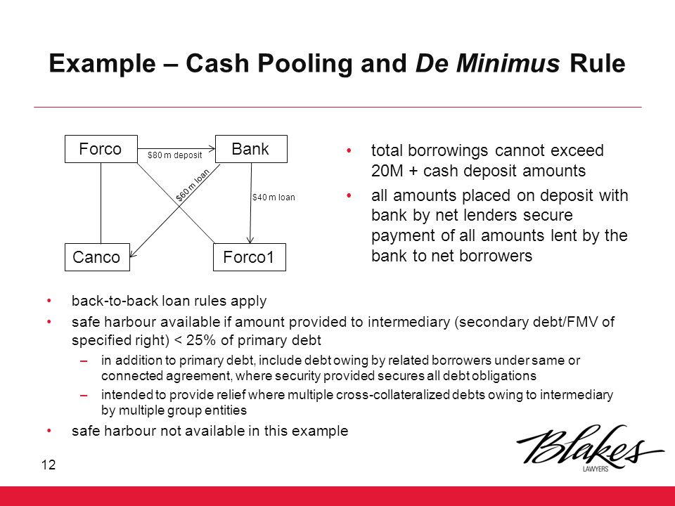 Example – Cash Pooling and De Minimus Rule