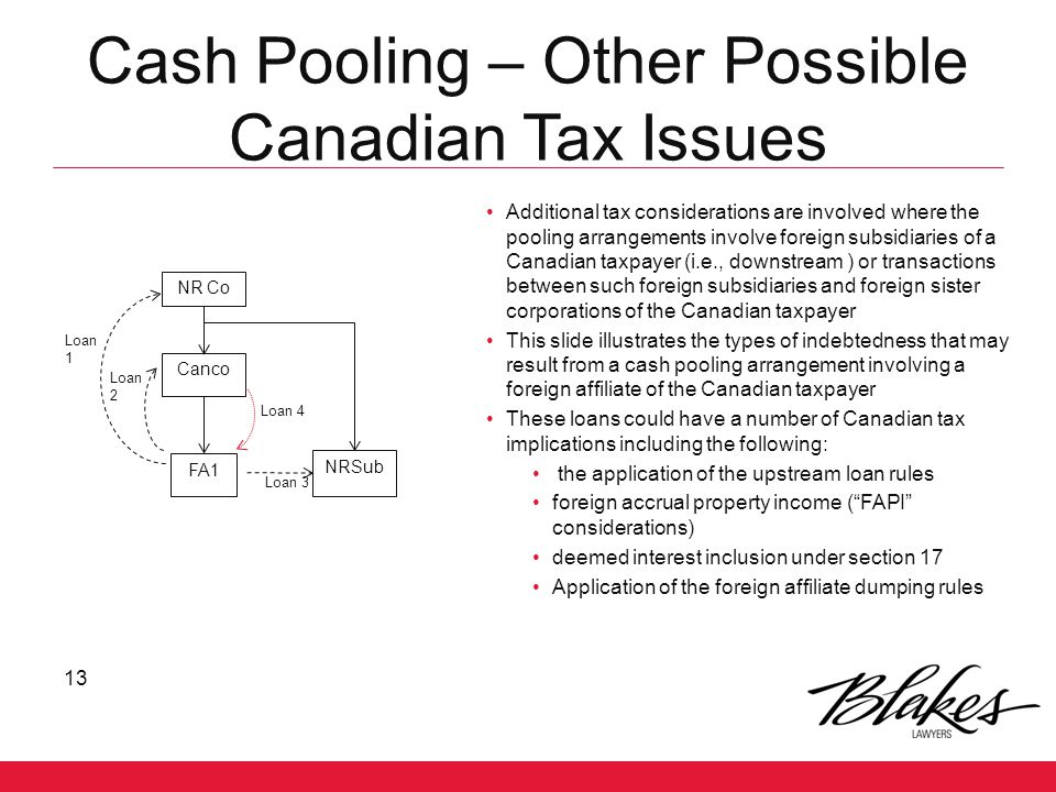 Cash Pooling – Other Possible Canadian Tax Issues