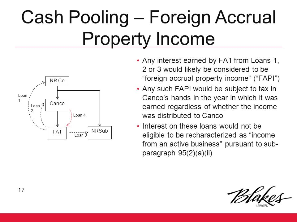 Cash Pooling – Foreign Accrual Property Income