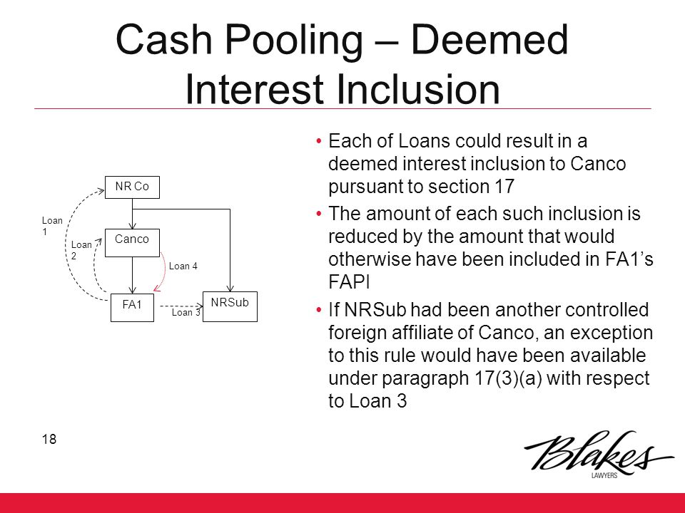 Cash Pooling – Deemed Interest Inclusion