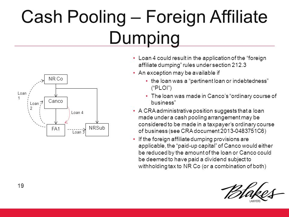 Cash Pooling – Foreign Affiliate Dumping