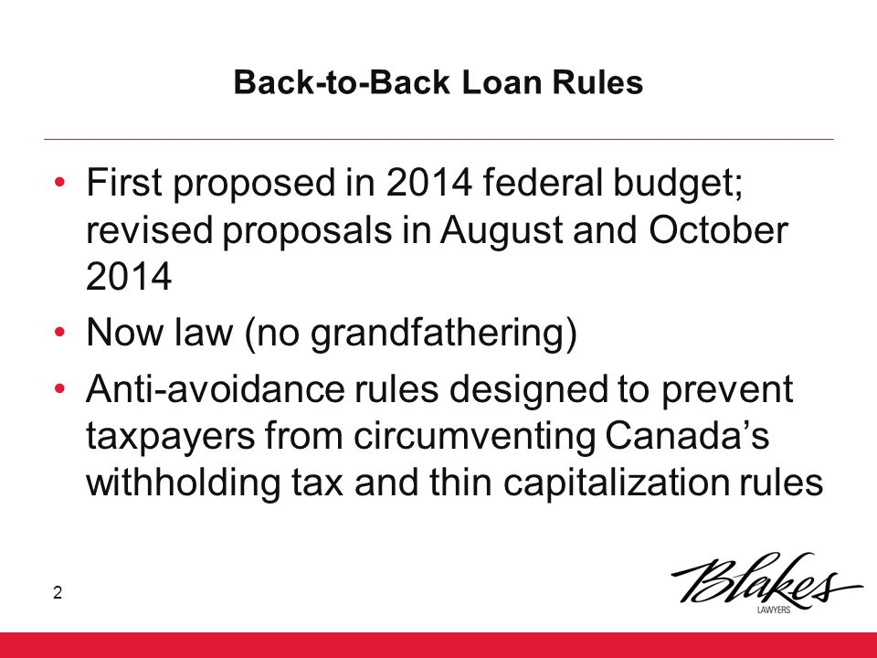 Back-to-Back Loan Rules