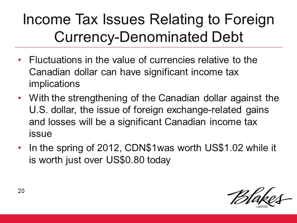 Income Tax Issues Relating to Foreign Currency-Denominated Debt
