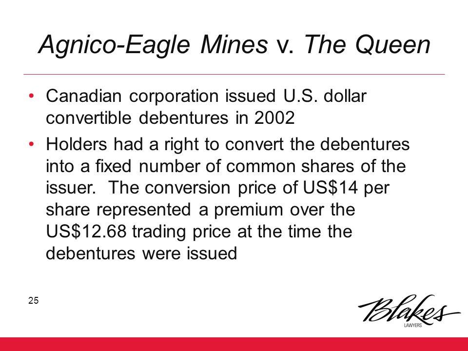 Agnico-Eagle Mines v. The Queen
