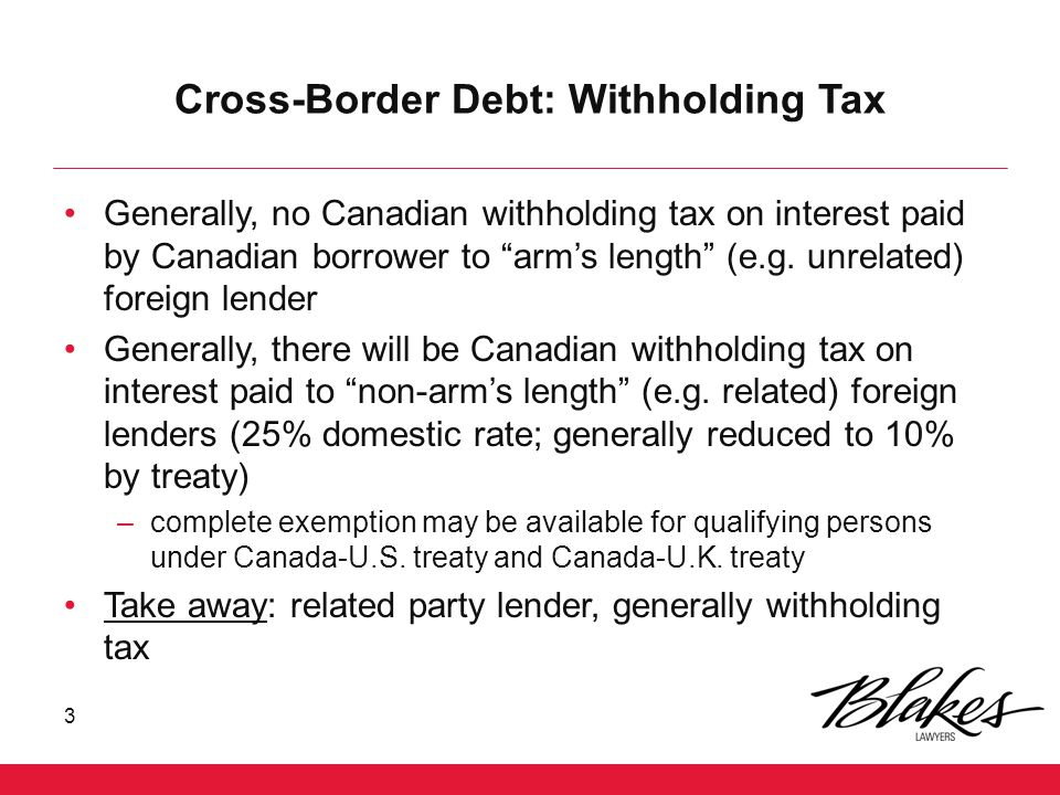 Cross-Border Debt: Withholding Tax