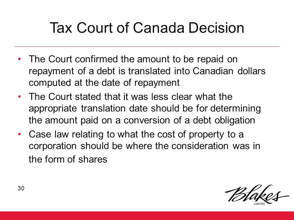 Tax Court of Canada Decision