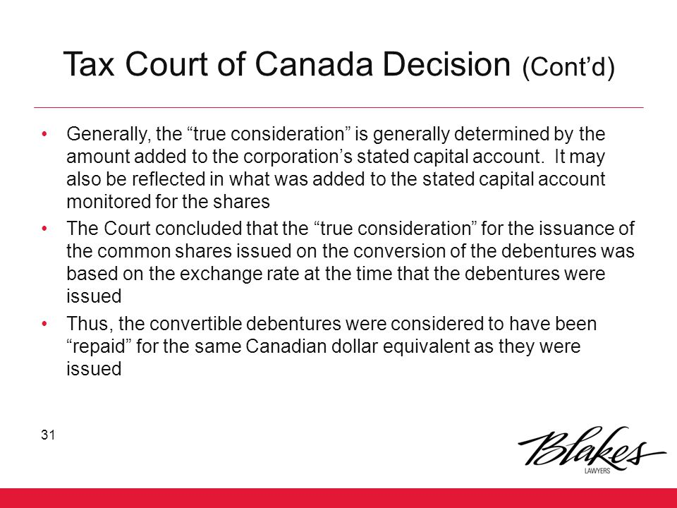 Tax Court of Canada Decision (Cont'd)