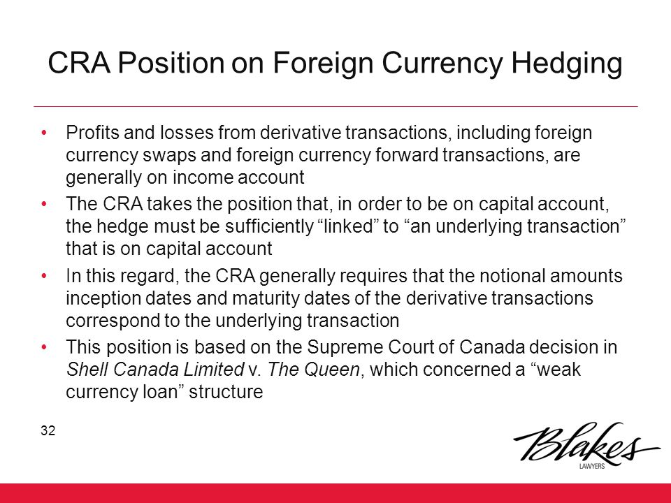 CRA Position on Foreign Currency Hedging