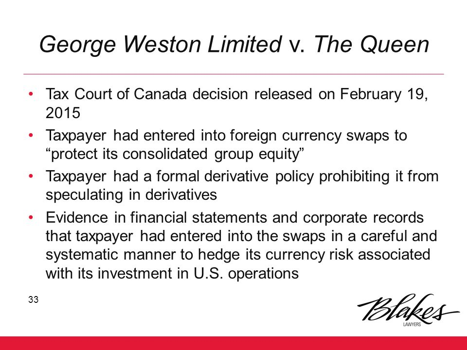 George Weston Limited v. The Queen