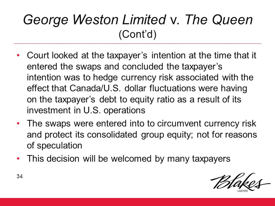 George Weston Limited v. The Queen (Cont'd)