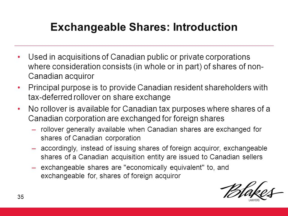 Exchangeable Shares: Introduction