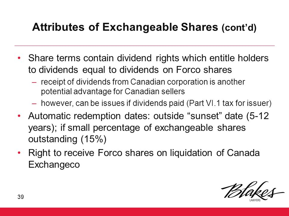 Attributes of Exchangeable Shares (cont'd)