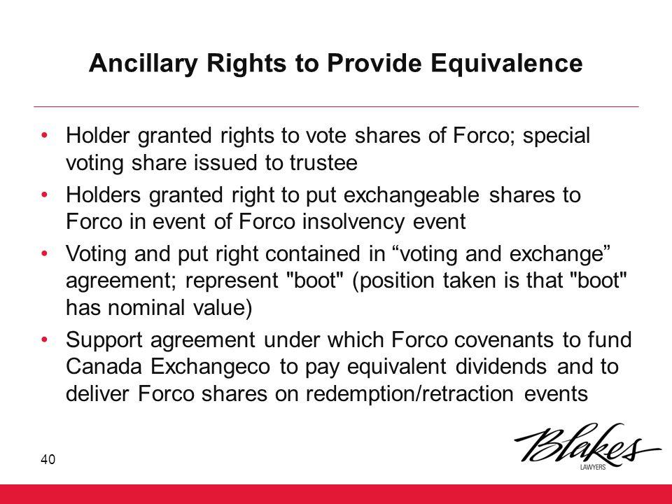 Ancillary Rights to Provide Equivalence