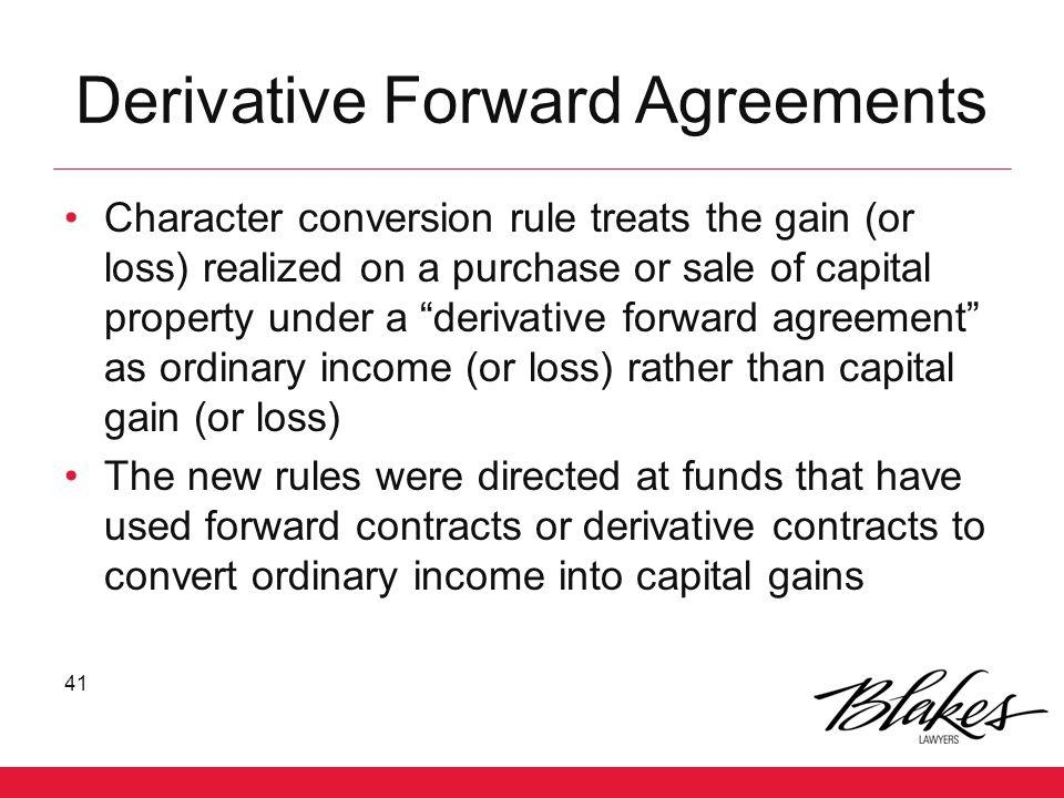 Derivative Forward Agreements