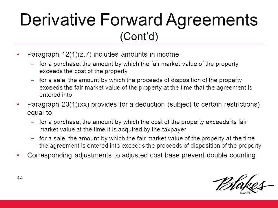 Derivative Forward Agreements (Cont'd)